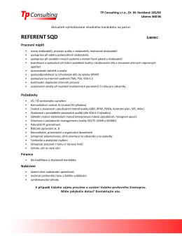 Nabidka pracovni pozice - REFERENT SQD
