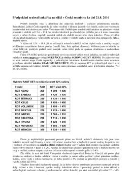 Předpoklad zralosti kukuřice na siláž v České republice ke