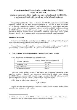 návrh cenového rozhodnutí, kterým se stanovují některé regulované