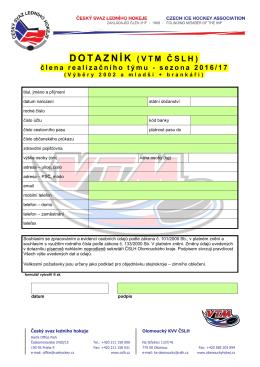 formulář - KVV ČSLH Olomouckého kraje