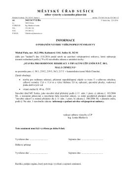 Informace o podaném návrhu veřejnoprávní smlouvy