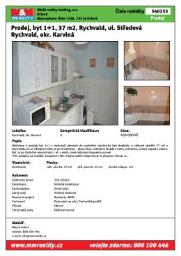 Prodej, byt 1+1, 37 m2, Rychvald, ul. Středová Rychvald, okr