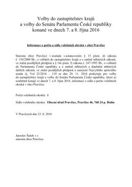 Informace o počtu a sídle volebních okrsků v obci Pravčice