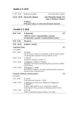 Program ústních sdělení - Česká společnost chemická
