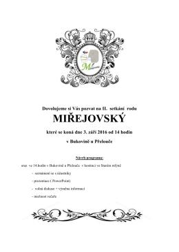 II. sraz roku Miřejovských - 3. 9. 2016 od 14 h Hostinec Ve mlýně
