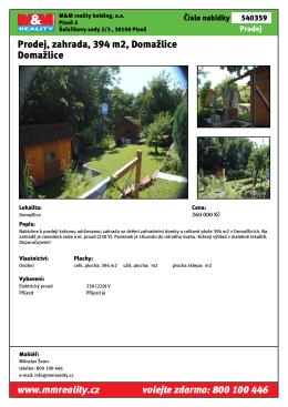 Prodej, zahrada, 394 m2, Domažlice Domažlice www.mmreality.cz