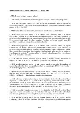 Souhrn usnesení z 57. schůze rady města