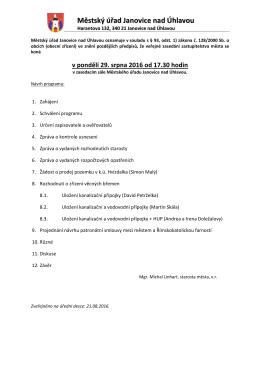 Oznámení o konání veřejného zasedání zastupitelstva města 29.8