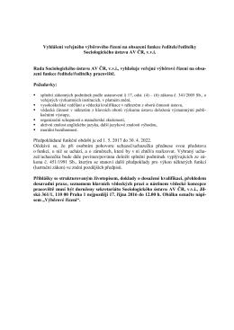 Vyhlášení veřejného výběrového řízení na obsazení funkce ředitele