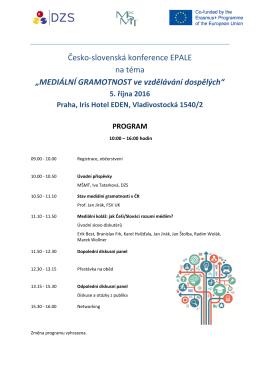 Program konference EPALE_mediální gramotnost
