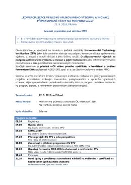 Seminář k hodnocení aplikovaného výzkumu a inovací + metodice