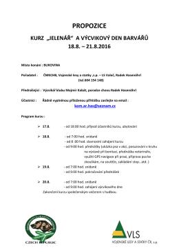 """propozice kurz """"jelenář"""" a výcvikový den barvářů 18.8. – 21.8.2016"""