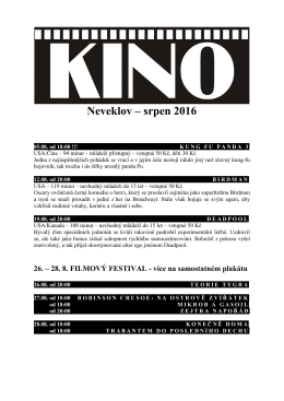 Kino program srpen 2016