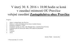 Veřejné zasedání Zastupitelstva obce Pravčice