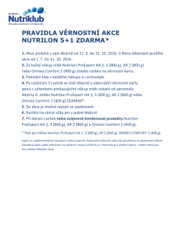 PRAVIDLA VĚRNOSTNÍ AKCE NUTRILON 5+1 ZDARMA*