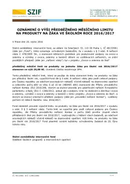 oznámení o výši předběžného měsíčního limitu na produkty na žáka