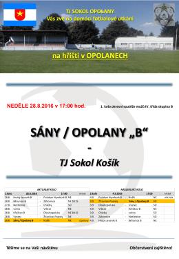 TJ Sokol Opolany zve na domácí fotbalové utkání dne 28.8.2016