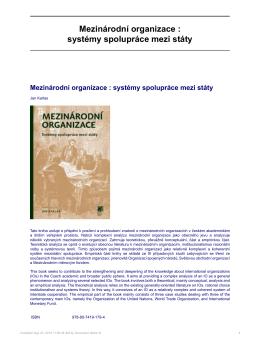 Mezinárodní organizace : systémy spolupráce mezi státy