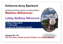 """Autorská beseda s Martinou Bittnerovou """"Lásky Boženy Němcové"""""""