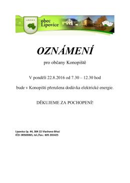 oznámení - Obec Lipovice