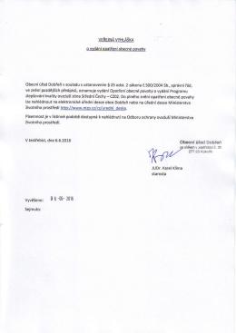 Veřejná vyhláška o vydání opatření obecné povahy