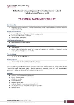 TAJEMNÍK/ TAJEMNICE FAKULTY