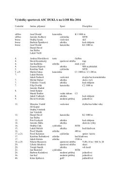 Výsledky sportovců ASC DUKLA na LOH Rio 2016