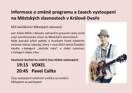 Informace o změně programu na Městských slavnostech dne 27.8
