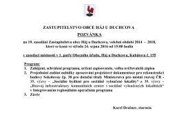 Pozvánka na zasedání ZO č. 19/2014-2018