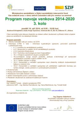 Program rozvoje venkova 2014-2020 3. kolo