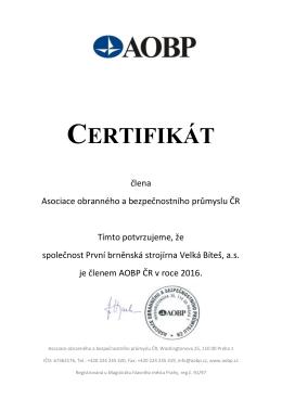 certifikát - První brněnská strojírna Velká Bíteš, a.s.