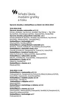 Došlo ke změnám 29. a 30.9. u IKT, Te a Polygrafie