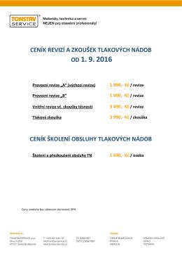1 990,- Kč / revize - TONSTAV