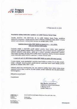 Dopis Letiště Praha ,a.s. k pravidelné údržbě