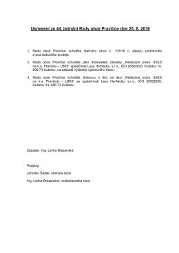 Usnesení ze 44. jednání Rady obce Pravčice