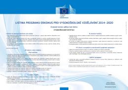 programu Erasmus pro vysokoškolské vzdělávání (ECHE)