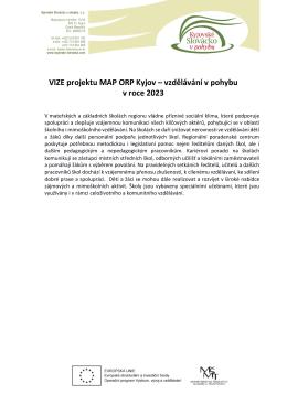 VIZE projektu MAP ORP Kyjov – vzdělávání v pohybu v roce 2023