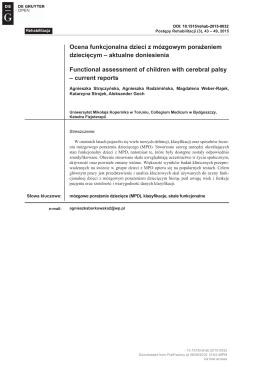 Ocena funkcjonalna dzieci z mózgowym porażeniem