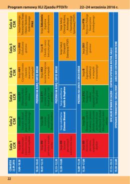 Program ramowy XLI Zjazdu PTOiTr 22–24 września 2016 r. 22 S