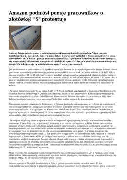 """Amazon podniósł pensje pracownikow o złotówkę! """"S"""" protestuje"""