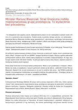 Minister Mariusz Błaszczak: Straż Graniczna rozbiła