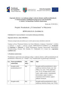 """Projekt: Przedszkole """"Z Uśmiechem"""" w Pińczowie RPWS.08.03.01"""