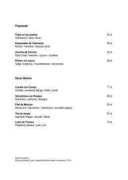 Menu  - Salto Restauracja