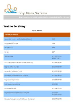 Ważne telefony - Urząd Miasta Ciechanów