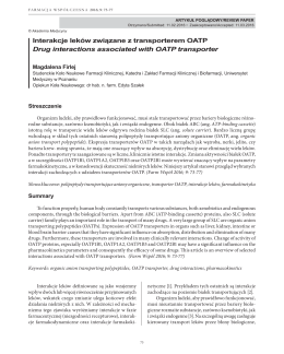 Interakcje leków związane z transporterem OATP Drug interactions