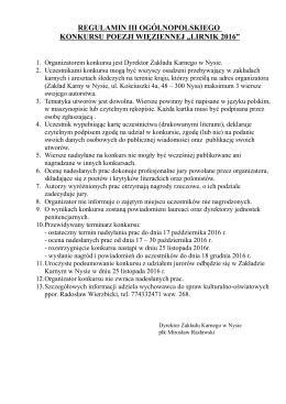 """regulamin iii ogólnopolskiego konkursu poezji więziennej """"lirnik 2016"""""""