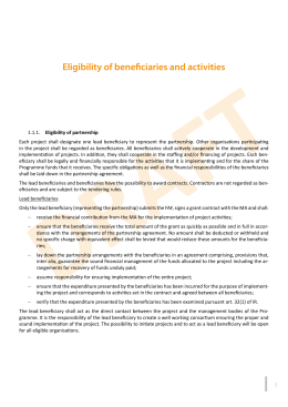 DRAFT Eligibility of beneficiaries and activities
