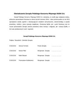 Oświadczenie Zarządu Polskiego Koncernu Mięsnego
