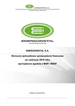 ENERGOINSTAL SA Skrócone jednostkowe