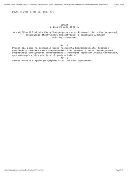 USTAWA z dnia 26 maja 2000 r. o ratyfikacji
